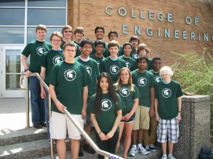 CS team members pose at the Michigan State University competition. Back row: Steven Vorbrich, first from left; Ben Dunham, third from left. Second to last row: Nick Gaunt, first from left.