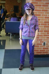Senior Alana Whitehead dresses from head to toe in purple for the first day of spirit week. Photo by Breonna Burnside