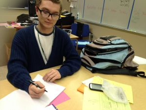 After learning something new, Alex Babbitt stays after class to get a head start on his home work. It's an easy way for him to get help if he needs it.