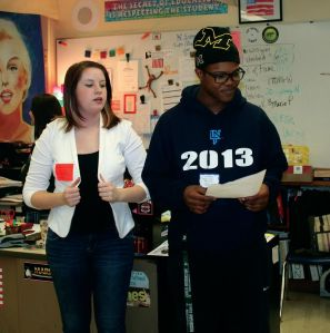 Former LNHS graduates Allie Creamer and Shaquan Hughes talk to a classroom of students about their college experiences thus far.