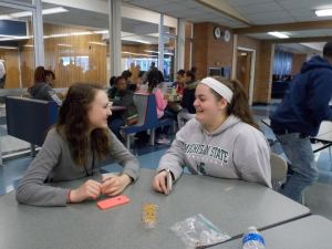 Freshman Rachel Thompson (on the right) talks with her friend Kamryn Chapman (on the left) during lunch. They have been friends for four years.
