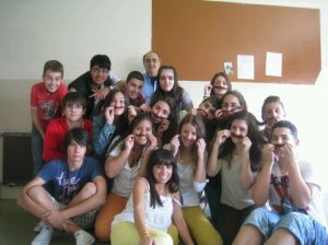 In this picture you can see some students and the Physics teacher of one of my classes in my high school 'Monte das Moas' in Spain, two years ago. These was the last day of school and they are making a joke, putting 'mustaches' on their faces, honoring the Physics teacher.
