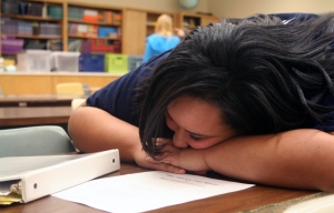 Kyra William catches up on sleep as opposed to catching up in class.