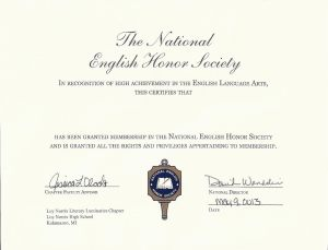 This is a certificate given to members of the National English Honor Society. The new members were given this certificate along with a flower at their induction.