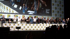 The cast of X-Men: Days of Future Past at the 2013 San Diego Comic Con International in San Diego, California.