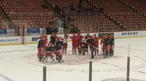 The Detroit Red Wings getting ready for hard day of practice on March 13. The day after the March 11 lost to the Columbus Blue Jackets.