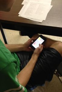 Loy Norrix senior Ryan Brozovich passes time playing the application 2048. Brozovich will attend Michigan State in the fall.
