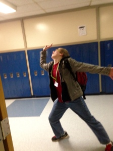 Connor Peterson struts his dance moves in Loy Norrix hallways.