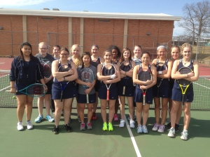 Loy Norrix Women's Tennis Team in 2014. Athletes hit the courts for practice as spring arrives.