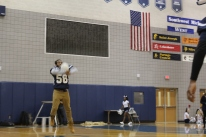 Junior Zeke Thomas doing his best to bring the guys to victory at the pep rally.