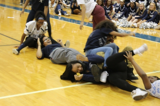 Senior Girl caterpillar team falls all over themselves but still picks up the win. The Junior class stayed on their feet, but