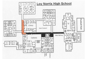 This is an Aerial Map of Loy Norrix High School. The orange strip is the bottleneck. Photo Credit: Loy Norrix Guidance Office
