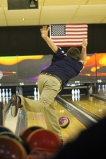 Bowler Trevor Morgan bowls a perfect ball. Morgan is looking to be a game changer for the team this year. Photo Credit: Yearbook