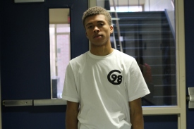 Senior Saevon Ivy is the creator of Circa 98. Ivy wears his newly designed 'C98' T-shirt. Photo Credit: Luis Juarez