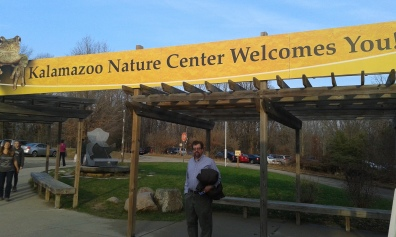 A beautiful sign welcoming everyone to the Nature Center. Many nature activities await in the building off to the right.