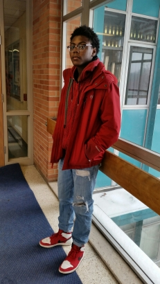 Junior Bernard Foster went all out in red, showing school spirit for Valentine's Day.