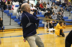 """Coach Paul Mahar holds the end of the rope trying not be pulled over the line in the battle against the juniors. """"I had to give all my muscles to support the LN staff and once again we came out on top,"""" said Mahar."""