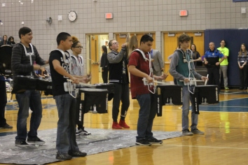 "Senior Sabrina Nieves and the band play their instruments in front of the whole school at the Spring Pep Rally. ""I was super nervous and scared that I was going to miss it up because my nerves get the best of me when we perform,"" said Nieves"
