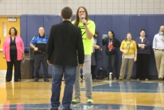 """Teachers Patrick Greeley and John Kreider sing a duo """"The Time,"""" at the Spring Pep Rally to introduce the Link Crew team."""