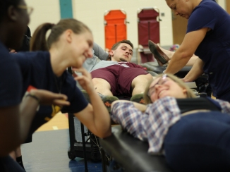 Although this is Junior Kiely Putney-Wilcox's first time donating he has little to no fear of it. He said that he takes pride in donating a part of himself for a good cause. Photo Credit / Jonathan Lo