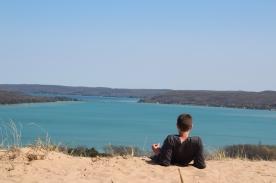 Clayton Barker overlooks Glen Lake. It is tremendously blue. Photo Credit / Jake Link