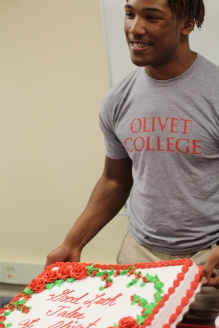 Senior Jalen Pace celebrates his commitment to Olivet College to wrestle. Pace was proud of himself and how far he has come. Photo Credit / Kendra Curtis