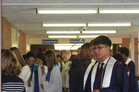 Students line up outside the auditorium, ready to be called in. Photo Credit / Frankie Stevens