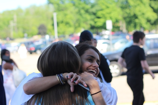 Audra Penny and Josie Fiore hug after the ceremony. Photo Credit / Frankie Stevens