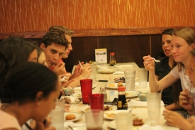 A group of seniors finish up eating at Hibachi. Photo Credit / Abby Farrer