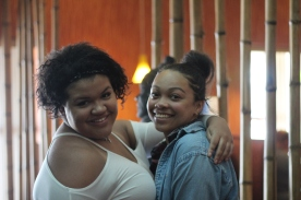 Zoe Branson and Jashala Wilson pose for a photo while walking out of Hibachi. Photo Credit / Abby Farrer