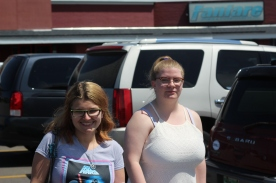 Alexis England and Aubrey Leppen smile for a photo outside of Hibachi. Photo Credit / Abby Farrer