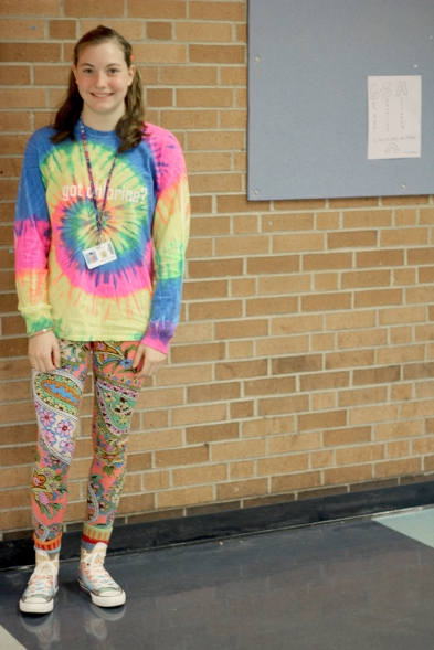 "THURSDAY: Sophomore Emma Van Houten in her outfit for mismatch day. ""I wanted to really stand out, and just show my personality,"" Van Houten exclaimed. Photo Credit / Hannah Pittman"