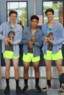 "THURSDAY: Juniors JT Mitchell, Sebastian Rodriguez, and Nick Srodes wear matching neon running shorts with Chewbacca shirts, and jean shirts. They call themselves 'Pibb Boi's' and ""it is really cold,"" said Srodes. Photo Credit / Hannah Pittman"