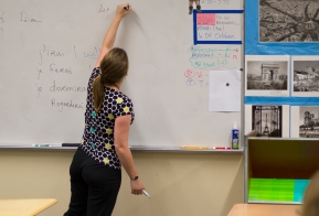 One of the ways Larner teaches best is using her whiteboard. It helps the students really understand what she's saying. Photo Credit / Zach Liddle