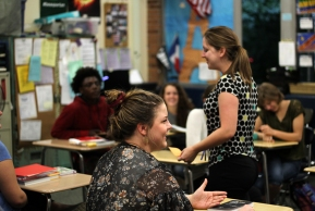 Rachel Zook shows her interest in French. While talking with another student, she remains engaged in the class. Photo Credit / Zach Liddle