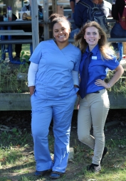 TUESDAY: Seniors Taylor Brown and Carolyn Wilson in their career day outfits. Brown wears scrubs from her EFE, and Wilson has her uniform on from her job at Culver's. Photo Credit / Hannah Pittman