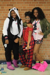 MONDAY: Freshmen Amanda Johnson, Janiyah Blanks, and Tiyanir Lewis dressed for the day. They all took part in pajama day for points for their freshman class.