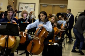 "Sophomore Peyton Cool is another first chair cello player. ""My favorite solo to play is the Elgar Concerto in G major,"" said Cool. Photo Credit / Sidney Richardson"