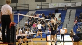 Senior Ashantai Hale-Sandifer goes up for a spike against Mattawan. Photo Credit / Sidney Richardson