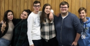 """Left to Right: Sophomores Ellie Nagel-Bennet, Izzy Best, Dustin Keltsch, Marliegh Vandenbusch, Nick Thompson, and Tristan Wheeler. """"We're silly but serious. We make fun of each other and we're always there for each other,"""" said Nagel Bennett. Photo Credit / Sidney Richardson"""