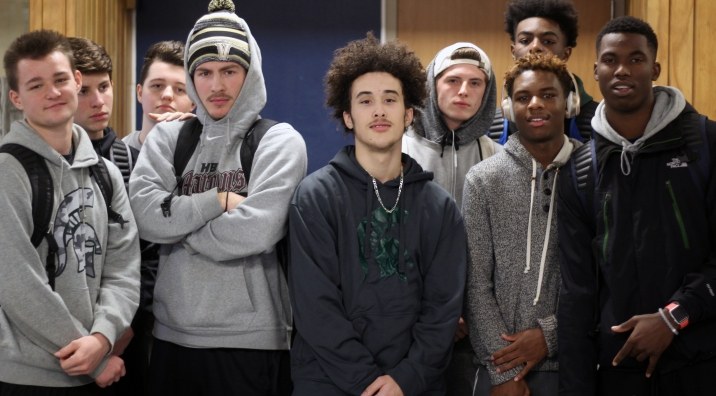 "Left to Right: Senior Noel Cavey, sophomores Jackson Rinehart, Chase Wagner, seniors James Rinehart, Tajh Smith, Gabe Runyon, juniors TJ Powell, and Alex Johnson. ""We're very creative, we like making stuff. We bounce energy off each other and have a good time,"" said Rinehart. Photo Credit / Sidney Richardson."