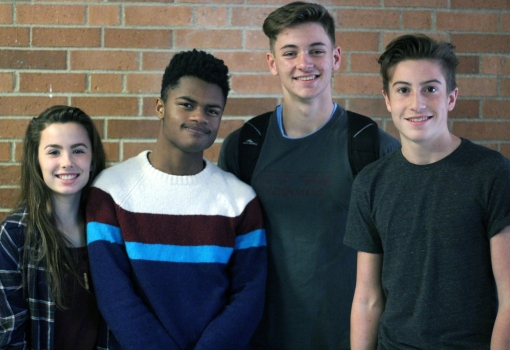 "Left to Right: Freshman Addy Alexopoulos, sophomores Karis Clark, Will Keller, and Joel Nicolow. ""My friend group is very diverse, we joke around and play soccer a lot,"" said Keller. Photo Credit / Sidney Richardson"