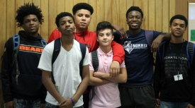 "Left to Right: sophomores Tre Collins, Xavier Palm, Leondre Snell, Richie Sackett, Nmeso Nnebedum, and Kavon Conley. ""We basically come to each other for advice on things that we can't talk to anyone else about and talk about our day,"" said Collins. Photo Credit / Sidney Richardson"
