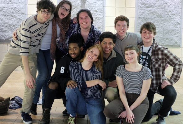 From Left to Right: Victor Moss, Bonnie Bremer, Jaylan Shields, Abigail Hauke, advisor Paige O'Shea, Sebastian Rodriguez, JT Mitchell, Lydia Achenbach, and Joey Welch. They make up Loy Norrix's 2016-2017 Improv Team. Photo Credit / Sidney Richardson