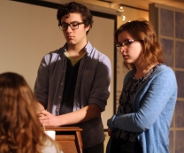 Juniors Victor Moss and Bonnie Bremer listen closely to instruction during rehearsal. The two are often involved in the school's theatrical works. Photo Credit / Sidney Richardson