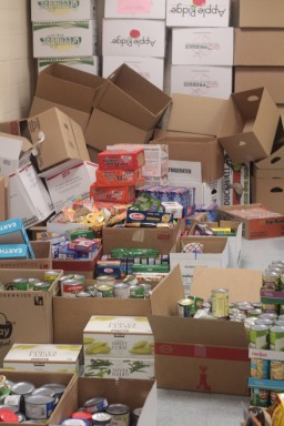 The food collection room was filled with food. There was boxes and boxes and boxes of food. Photo Credit / Emma Whi