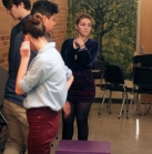 Junior Grace Erway focuses on instruction as the team goes over their scene setting movements. In multiple, you can only use blocks to set your scene. Photo Credit / Sidney Richardson