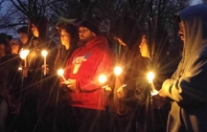 Students and families gather to honor and remember the life of Alex Sanchez.
