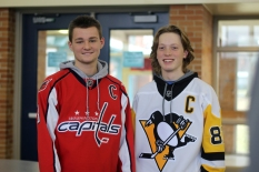 Seniors Noel Cavey and Jacob Remelius sport the Washington Capitals and Pittsburgh Penguins NHL teams for jersey day, Monday. Cavey and Remelius are also on the Kalamazoo United hockey team for Loy Norrix, carrying KU with a 17-1-1 record. Photo Credit / Michaela Whalen