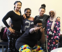 Seniors Ashantai Hale-Sandifer, Destiny Mabon, Tavier Jones, Sheridan Brittany and junior Fati Diallo woke up Thursday morning already dressed for school. Pajama day was a popular spirit day around Loy Norrix as hundreds of students were able to sit in class in comfort. Photo Credit / Michaela Whalen